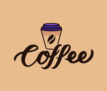 The   coffee. Food logotype, badge, sticker, emblem