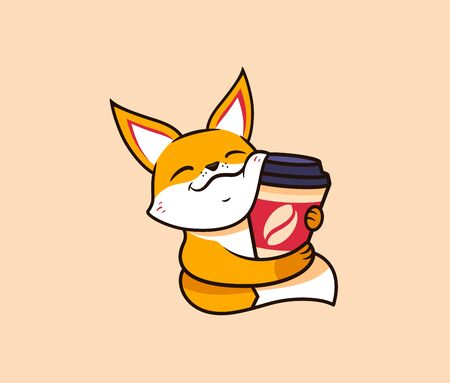 The  funny fox with coffee. Food logotype, cute animal, cartoon character