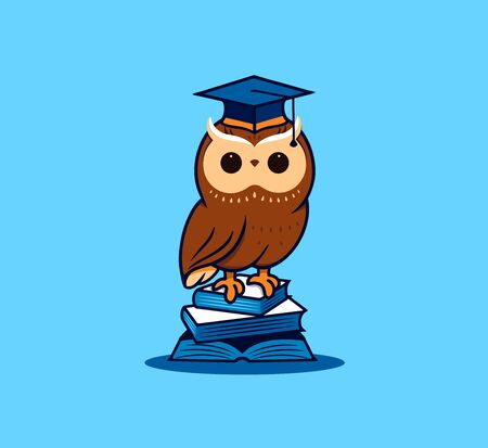 The cute owl student with books.  cartoon character Vettoriali