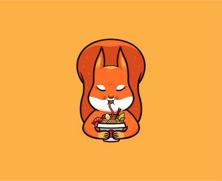 The  funny squirrel eats noodles. Food logotype, cute animal, cartoon character, badge, sticker, emblem on orange background. Archivio Fotografico