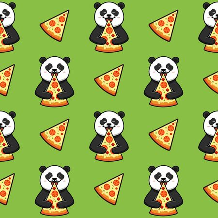 Pizza seamless pattern, texture, print, surface with panda. Italian food Archivio Fotografico
