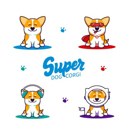 Set of little dogs, logos with text. Funny corgi cartoon characters, logotypes, badge, sticker, emblem on blue background isolated. Vector illustration, flat, line art style, creative design