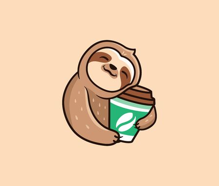 The logo funny sloth with coffee. Food logotype, cute animal sleep