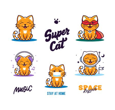 Set of logos funny cats. Collection logotypes, cute animal kitty