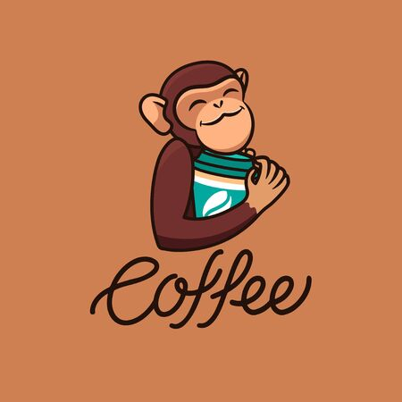 The logo funny monkey with coffee, text. Food logotype
