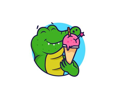 The logo head crocodile with ice cream. Food logotype