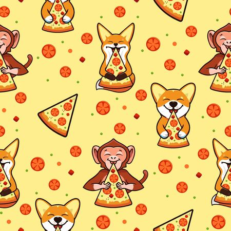 Pizza seamless pattern, texture, print, surface with animals