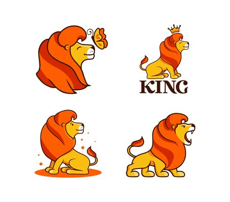 The lion king,  set. Collection cartoon characters,   badges, stickers, emblems on white background isolated. Vector illustration, flat, line art style, creative design
