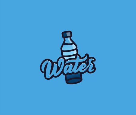 The bottle water  with lettering, badge, sticker, emblem on white background. Vector illustration, flat, line art