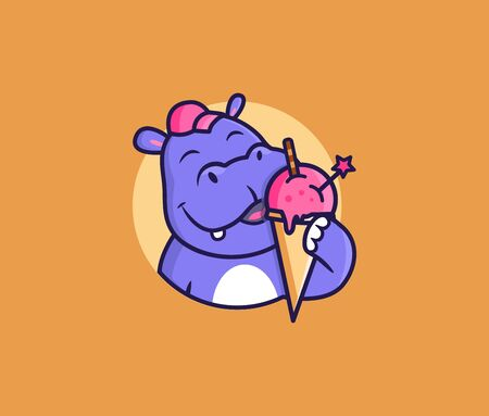 The  head hippo eat ice cream. Food  cute animal, cartoon character, badge, sticker, emblem. Vector illustration, flat, line art, creative