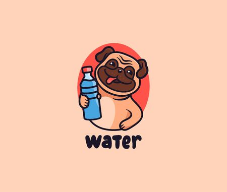 The cute pug with water  Puppy with lettering, funny animal, cartoon character dog, badge, sticker, emblem on white background. Vector illustration, flat, line art
