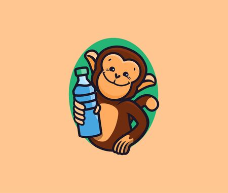The monkey with water . Logotype with lettering, funny animal, cartoon character, badge, sticker, emblem on white background. Vector illustration, flat, line art