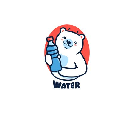 The polar bear with water . Logotype with lettering, funny animal, cartoon character, badge, sticker, emblem on white background. Vector illustration, flat, line art