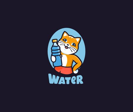 The kitty with water. Logotype cat with lettering, funny animal, cartoon character, badge, sticker, emblem on dark background. Vector illustration, flat, line art