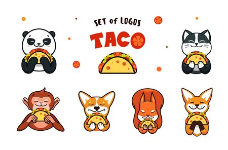 Set of  cartoon Fast food. Logotypes animals eats pizza Vettoriali