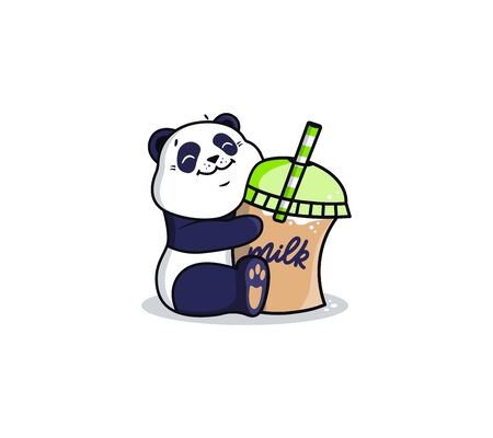 Logotype panda with milk cocktail. Vettoriali