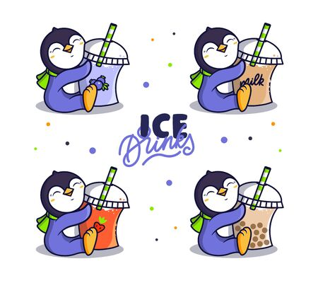 Set of  ICE Drink. Logotype penguins with milk cocktails. Vettoriali