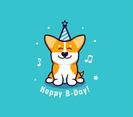 The Happy Birthday with dog. Logotype with funny corgi and lettering phrase.