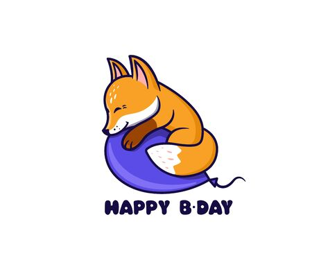The  Happy Birthday with fox. Logotype with funny anime