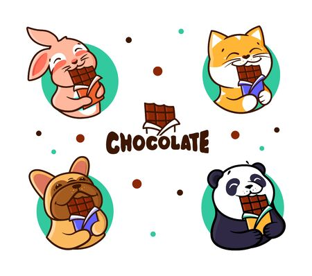 Set of  Chocolate. Logotypes animals eats chocolate.