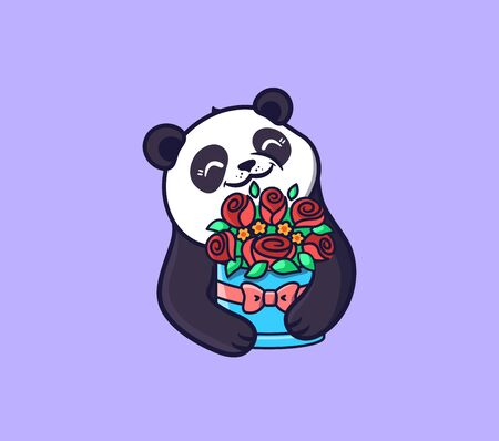 Panda with Flowers. Logotype Happy Birthday