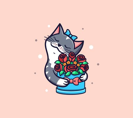 The  Cat with Flowers.  Happy Birthday and funny cartoon kitty