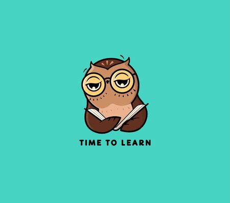 The   Owl reads Book. Funny cartoon character for online school, university, courses. Vettoriali