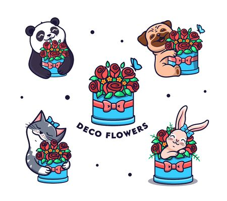 Set of logos Flowers with animals. Collection funny cartoon panda, cat, dog and rabbit Vettoriali