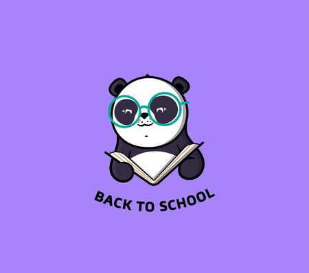The logo Panda reads Book. Funny cartoon character for education