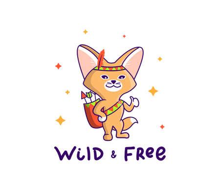 The adorable fox of a Fennec wearing the forest costume. Illusztráció