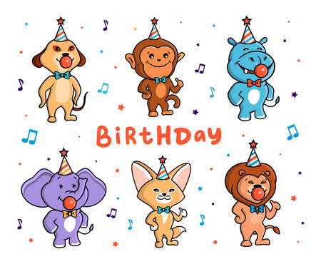 The cute set of animals for a Happy Birthday. African characters