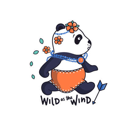 The Bohemian panda in a skirt and with flowers is running. Cute animal in boho style is suitable for Family look prints etc. Vector illustration with lettering - Wild as the Wind Vettoriali