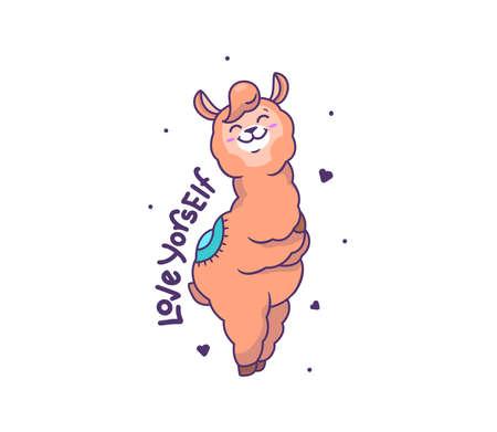 The happy llama alpaca hugs herself. Cartoonish animal
