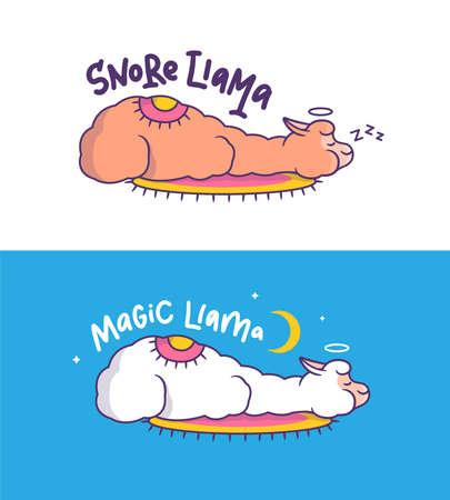 The magic llamas are sleeping. Cartoonish alpaca