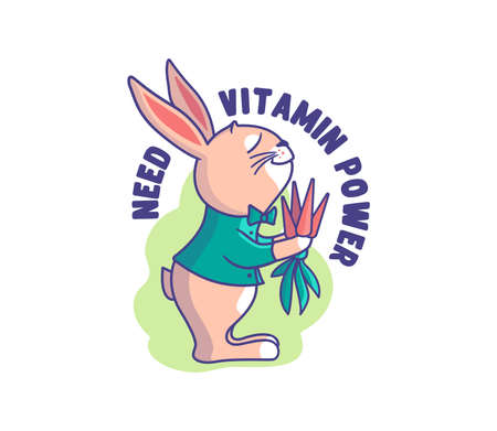 The funny bunny is a vegetarian. Cartoonish rabbit with a carrot bouquet and a phrase - Need vitamin power. Good for t-shirts, cloth designs, stickers, ads, etc. This is a vector illustration Çizim
