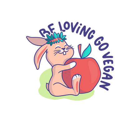 The little bunny is a vegetarian. Cartoonish rabbit with a big apple and a phrase -Be loving go vegan. Good for t-shirts, cloth designs, stickers, ads, etc. This content is a vector illustration Çizim