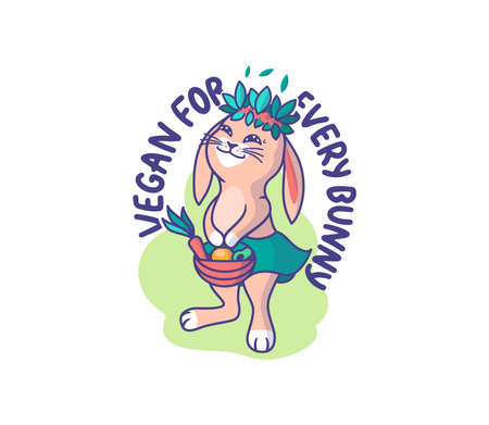 The happy animal-girl with vegetables and fruits. Cartoonish rabbit with a lettering phrase - Vegan for every bunny. Good for t-shirts designs, stickers, ads, etc. Vector illustration Çizim