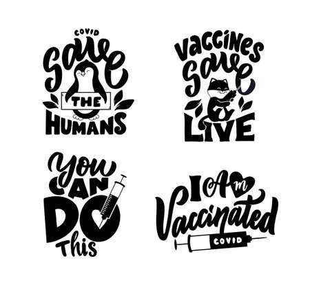 The set of lettering phrases about bacteria and vaccine. Vektoros illusztráció