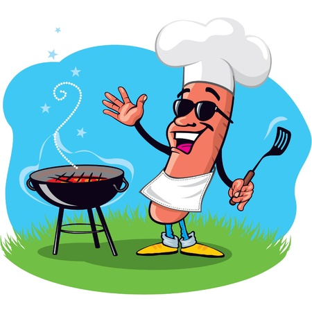 bbq: Cool Barbecue Hot Dog with Grill Illustration