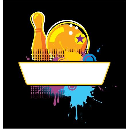 Vector Bowling Grunge Banner Illustration