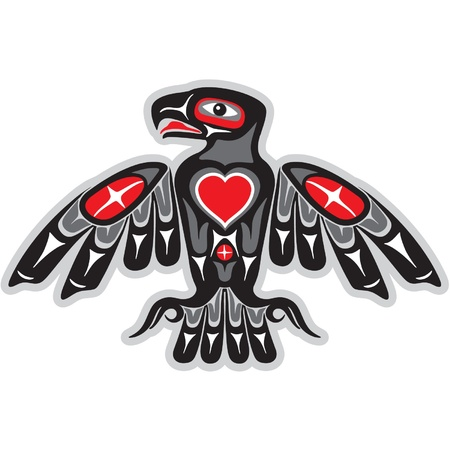 native american art: Eagle in Native Indian Style with Heart Shape  Illustration