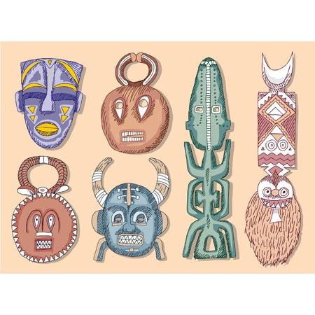 totem: Ensemble de vecteur de masques africains  Illustration