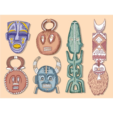 wooden mask: Vector Set of African Masks  Illustration