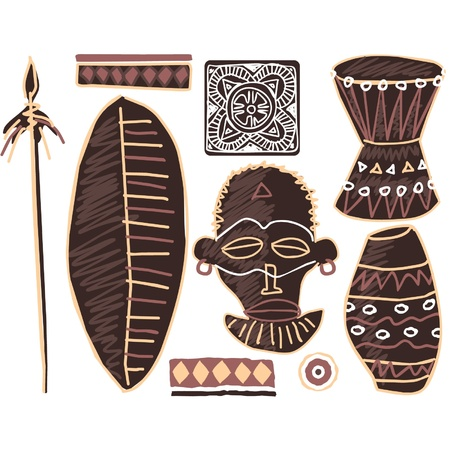 spear: Vector Set of African Elements Illustration