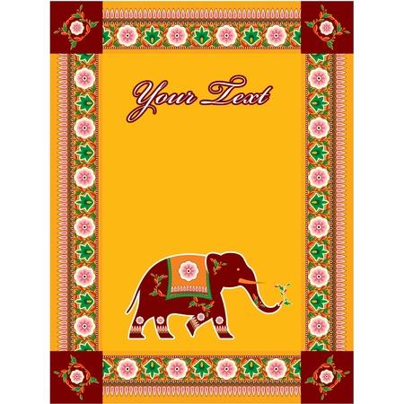 Vector Indian (Hindu) sjabloon met kopie ruimte en olifant