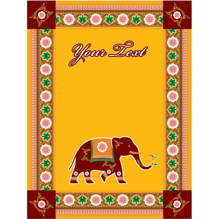 red indian: Vector Indian (Hindu) Template with Copy Space and Elephant Illustration
