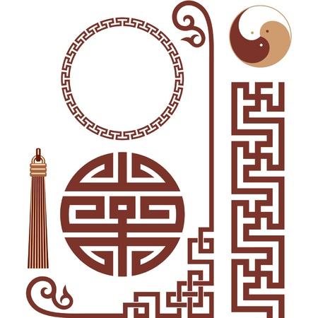 korean traditional: Vector Set of Oriental Elements Illustration
