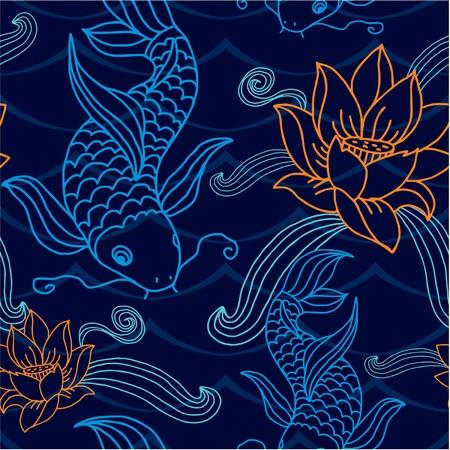 japanese koi carp: Vector Seamless Oriental Tile