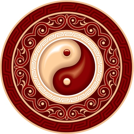 Vector Ying Yang Symbol in Rosette Vector
