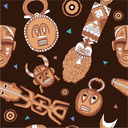 wooden mask: Vector African Seamless Tile with Masks